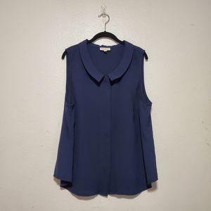 Modcloth navy blue sleeveless blouse collar career